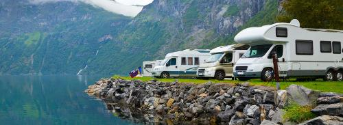 RVs overlooking nature